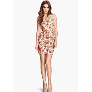 H&M White Peplum Flower Dress